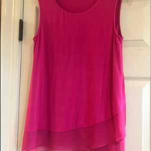 Vince Camuto hot pink sleeveless ruffle top Size S
